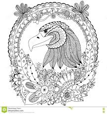 Vector Illustration Zen Tangle Eagle Round Frame Floral Doodle Flower Coloring Book Anti Stress For Adults Black White