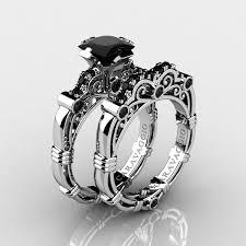 Art Masters Caravaggio 14K White Gold 1 25 Ct Princess Black Diamond Engagement Ring Wedding Band Set