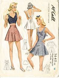 1940s RARE Vintage Sewing Pattern Crop Top Playsuit Shorts Beach Romper Waist 27 W27