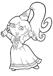 Princess Dora The Explorer Coloring Pages 01 Within