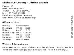 ᐅ öffnungszeiten küche co coburg dörfles esbach