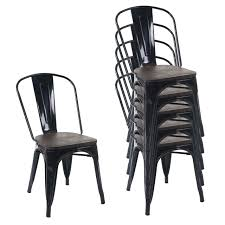 6x stuhl hwc a73 inkl holz sitzfläche bistrostuhl stapelstuhl metall industriedesign stapelbar schwarz
