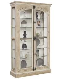 hailey door curio cabinet in driftwood by pulaski home gallery