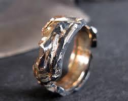 Mens Wedding Band Ring Viking Rustic Rose Gold Unique