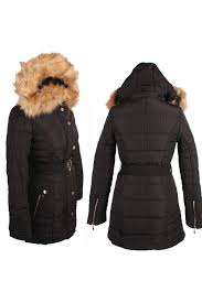 womens quilted long winter coat faux fur collar padded jacket