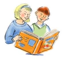 Lovely Children Reading To her Clipart