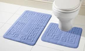 2 tlg antirutsch bad garnitur für badezimmer badematten vorleger matten set mid blau