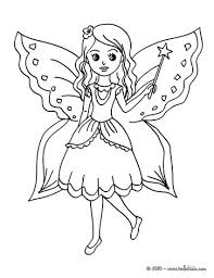 Fairy Long Hair With Butterfly Coloring Page