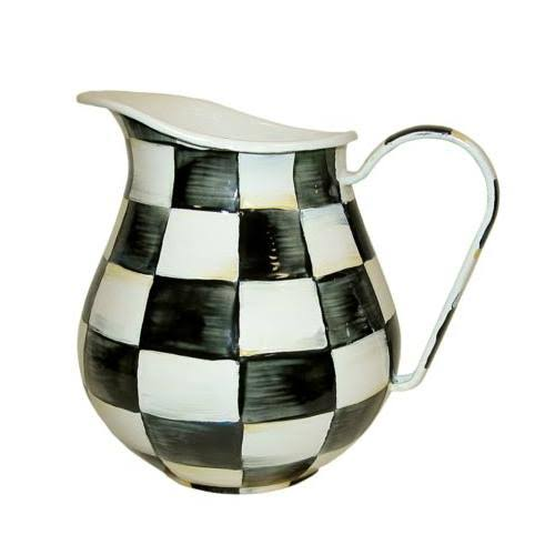 Mackenzie-childs Courtly Check Enamel Pitcher - Black/White