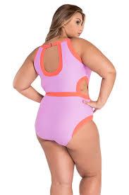 fashion rosy cutout monokini plus size swimwear online