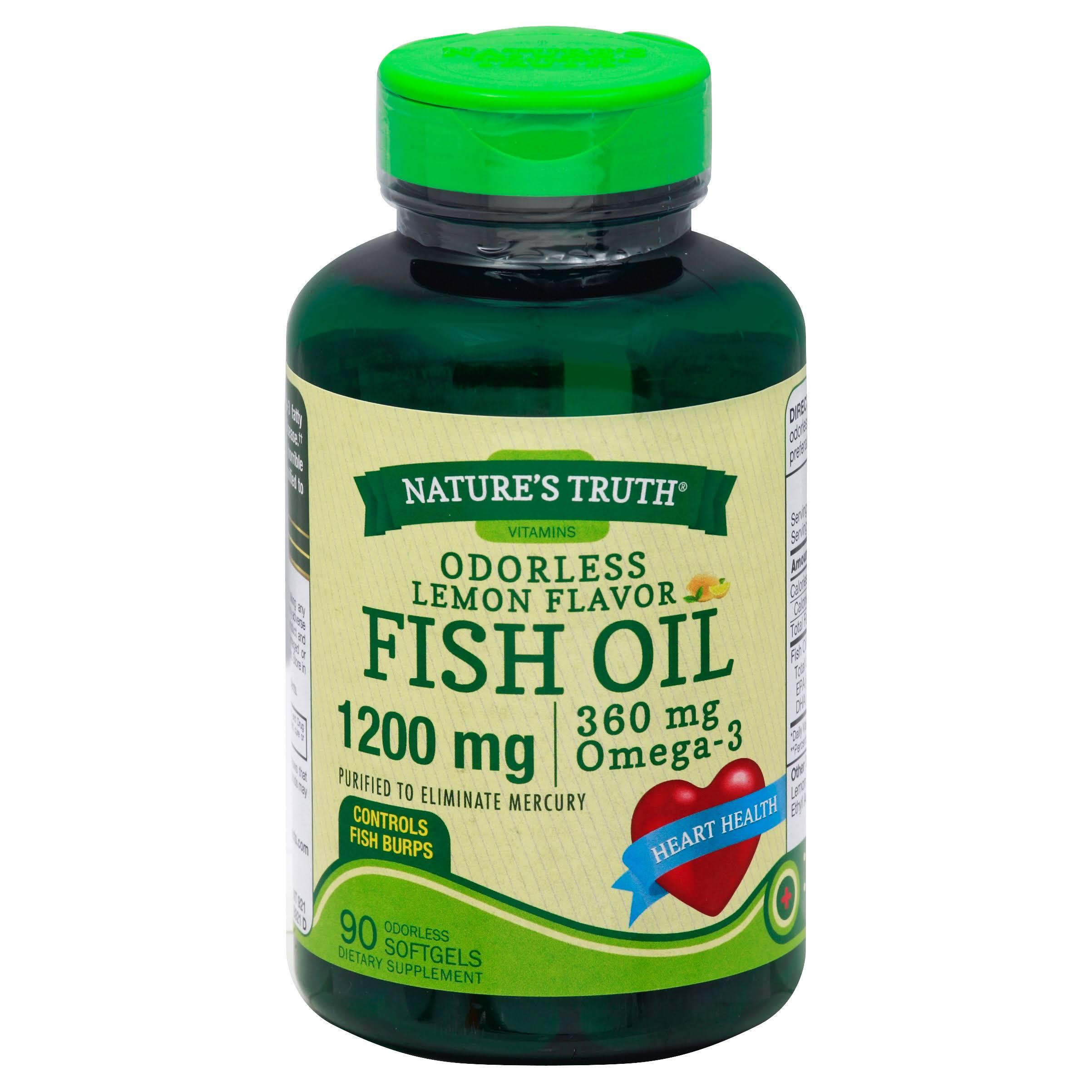 Nature's Truth Fish Oil Capsules - 90ct, 1200 mg, Odorless, Lemon