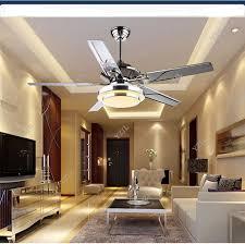 Stainless Steel Ceiling Fan Light Living Room Restaurant Sectors LED European Modern Minimalist Lamp