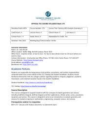 Tcc College Help Desk by Tcc Course Syllabus Faculty Websites