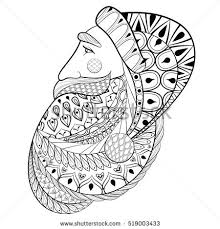 Adult Coloring Book Page Hand Drawn Decorative Santa Claus Vector Illustration In Zentangle Style Sketch For Anti