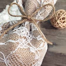 Drawstring Lace Burlap Wedding Gift Bags EWFB064 2