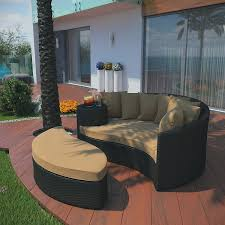 Patio Furniture With Hidden Ottoman by Amazon Com Lexmod Taiji Outdoor Wicker Patio Daybed With Ottoman