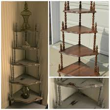 Living Room Corner Decoration Ideas by Rustic Grey Wooden Corner Shelf Units With Four Racks And Brown