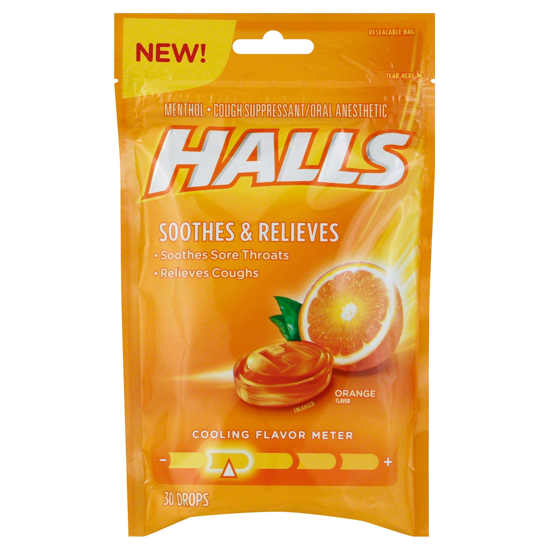 Halls Orange Soothing Action Menthol Cough Drops - 30ct