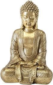 casajame buddha figur zen sitzend statue in groß zur meditation feng shui deko aus kunstharz in gold h39 cm hoch