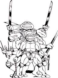 Teenage Mutant Ninja Turtles Gang Loved Pizza Coloring Page