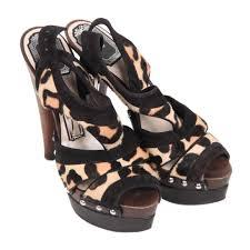 christian dior leopard ponyhair wooden heel platform sandals 35 5
