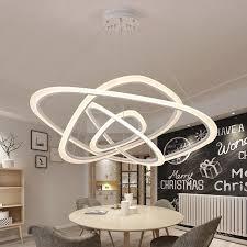 großhandel moderne pendelleuchten für wohnzimmer esszimmer 2 3 4 circle wave ringe acryl aluminium körper led pendelleuchte armaturen cn store01