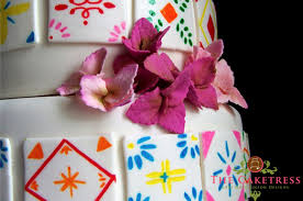 Mexican Theme Wedding Cake With Hand Painted Sugar Tiles By The Caketress