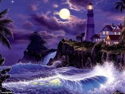 100 Christian Lassen Artist Artist Lighthouse Surf Full Moon Moon
