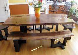 Alluring Rustic Dining Table And Bench Room With Benches Home Interiors