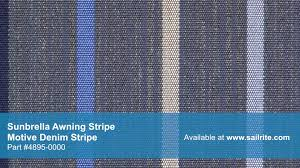 Video Of Sunbrella Motive Denim Awning Stripe Fabric #4895-0000 ... Stark Mfg Co Awning Canvas Sunbrella Marine Outdoor Fabric Textiles Stripe 479900 Greyblackwhite 46 72018 Shade Collection Seguin And Home Page Residential Fabrics Commercial How To Use Awnings Specifications Central Forest Green Natural Bar 480600