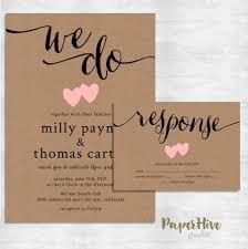 Rustic Wedding Invitation Kraft Paper Invite Set Modern Vintage Printable File Or Printed Cards