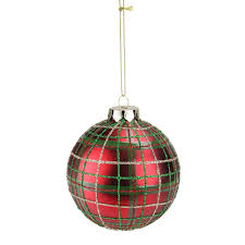 Green Red Gold Plaid Glass Ball Christmas Ornament 325 80mm