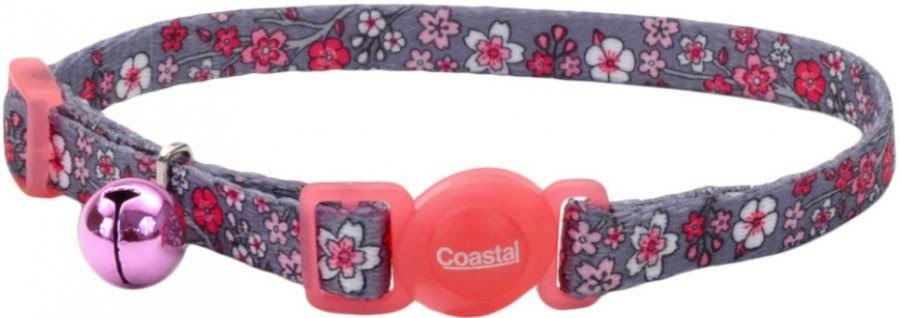 Safe Cat Fashion Adjustable Breakaway Cat Collar, Pink Cherry Blossoms