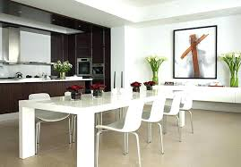 Apartment Dining Table Room Sets With Leather Chairs Round Design Contemporary Glass