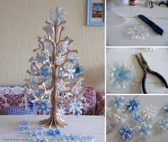 Diy Christmas Decor Using Plastic Bottles Beautiful Snowflake Ornaments From On Wreath