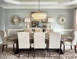 Dining Room Wall Decor Round Mirror In Transitional With Living
