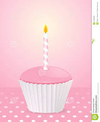Pink Cupcake With Candle A Pink Polka Dot Background F2a9en Clipart