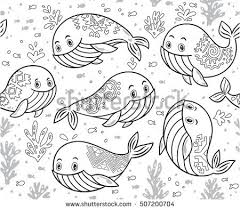 Outline Sea Life With Whales And Little Fish Black White Doodle Vector Background