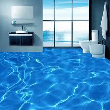 custom foto boden tapete moderne kunst 3d blau wasser wellen badezimmer boden wandbild pvc selbst adhesive wasserdichte boden tapete