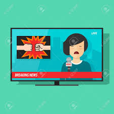 Breaking News On Tv Screen Vector Illustration