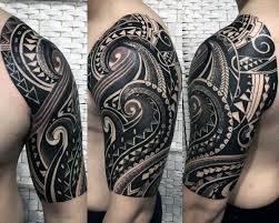 Dark Black Ink Mens Amazing Tribal Tattoo Sleeve Inspiration