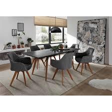 esszimmer set 7 tlg den haag 119 tischplatte mit marmoroptik sitzschalen antik grau hellgrau gestelle in esche massiv
