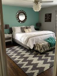 Grey Teal Bedroom Chevron Rug With Wall And Mirror Is Really Pretty