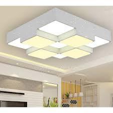 modern square shaped acrylic shade flush mount led ceiling light