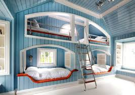 Alluring Design Ideas Of Ikea Teenage Bedroom With Blue Wall Paint Color And Bunk Bed