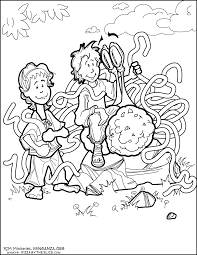 Children Speak With Flying Spaghetti Monster In The Garden Coloring Page