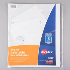 Avery Big Tab Extra Wide 5 Tab Clear Insertable Tab Dividers
