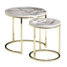 design beistelltisch 2er set weiß marmor optik rund couchtisch 2 teilig tischgestell metall gold kleine wohnzimmertische moderne satztische