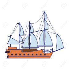 100 Pirate Ship Design Ship Boat Side View Isolated Cartoon Vector Illustration