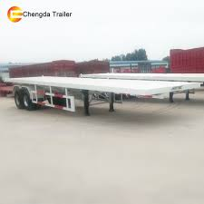 100 Semi Truck Prices 2 Axle 20ft Container Transport Flatbed Trailer With